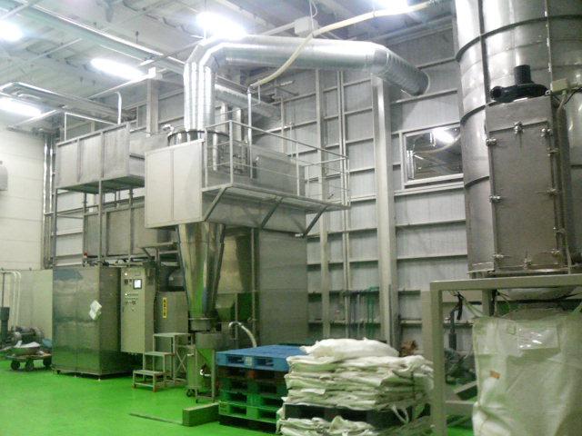 おから乾燥設備向け付帯設備。乾燥おから貯留、搬送、梱包
