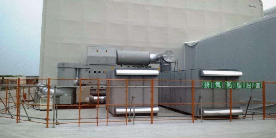 汚染土壌処理プラントより発生する汚染ガス、粉塵の集塵・脱臭換気システム