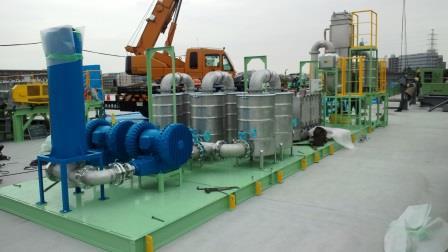 ダイオキシン類、PCB類含有土壌浄化処理プラントのオフガス処理システム