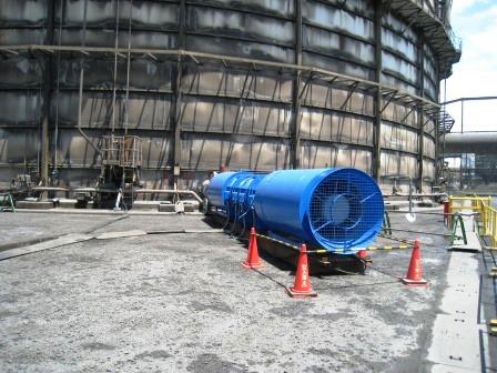 ガスホルダー補修・メンテナンス工事用換気システム