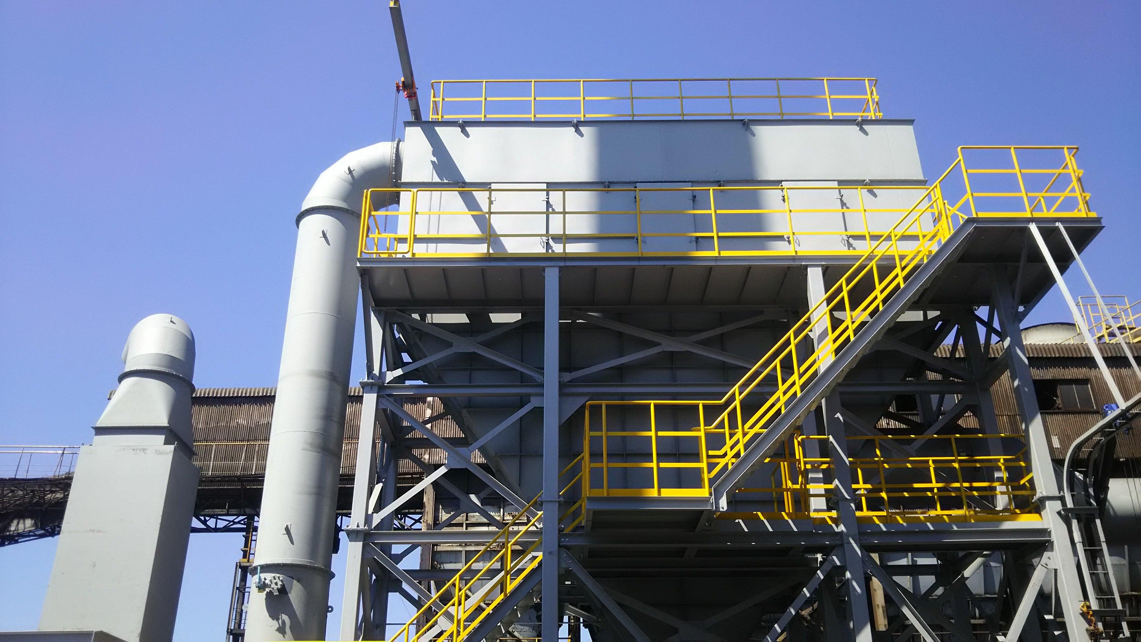 建屋全体換気の最適化ソリューション、省スペース設置設計、排気粉塵濃度を0.1mg/m3以下へ