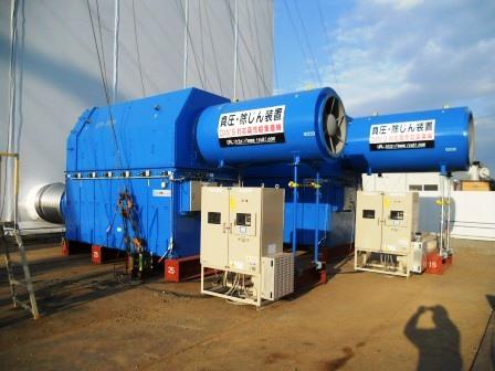 放射性物質含有物の減容化処理設備建屋内全体換気システム
