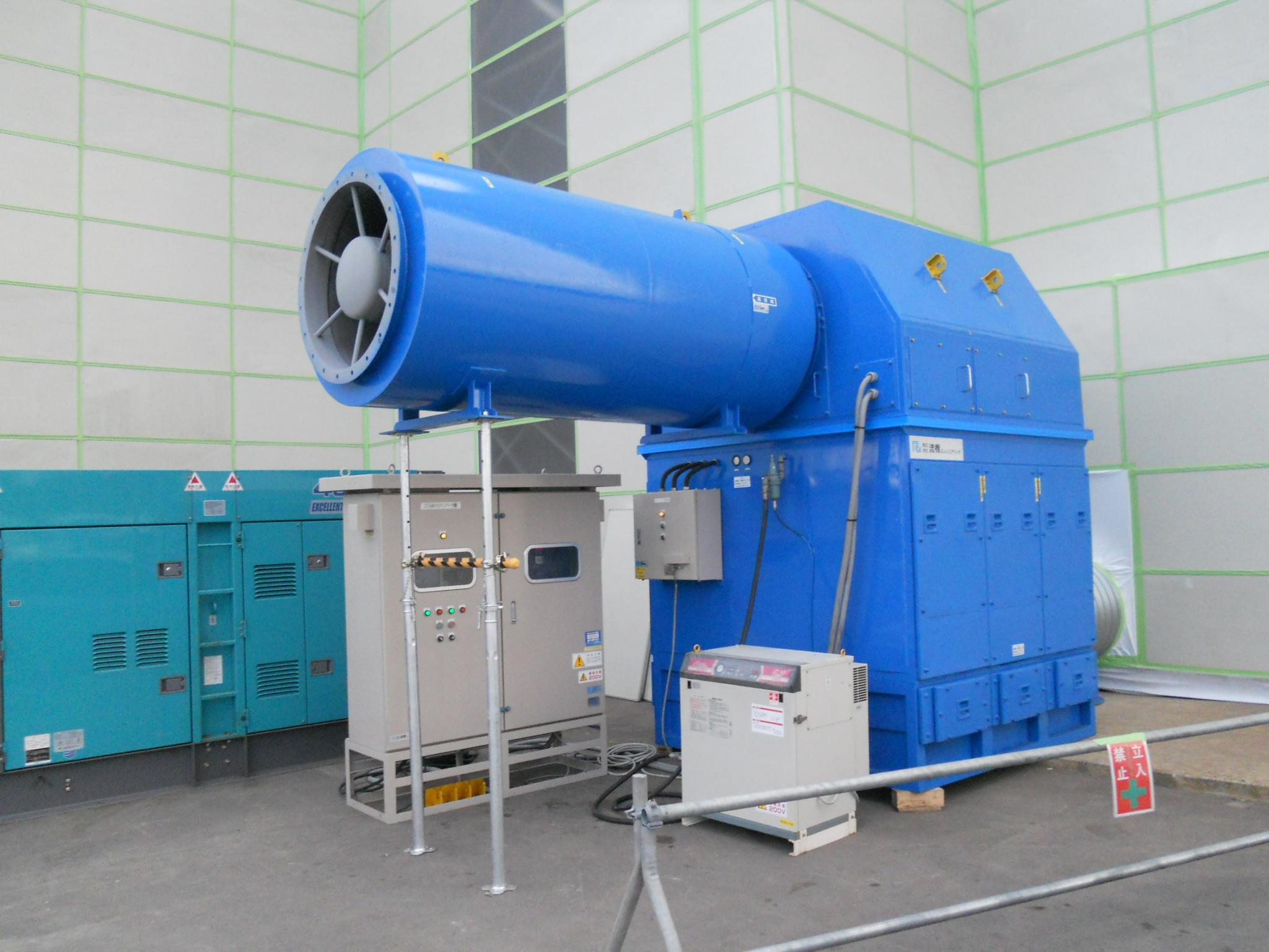 ハコモノ解体向け、都市部ビル解体工事納期短縮施工用大型集塵システム